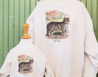 Kitty Cat sweatshirt, Vintage cat shirt,  cat mom, cat dad