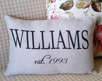 Farmhouse anniversary pillow, Rustic wedding pillow, Last name pillow, Farmhouse decor, Modern country