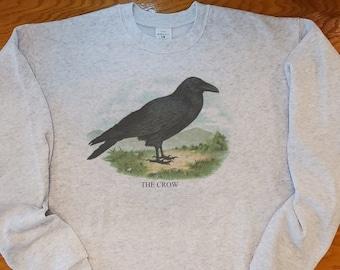Vintage Crow, Crow sweatshirt, Crow antique print, Blackbird lithograph. Raven sweatshirt
