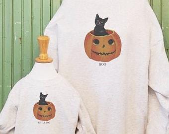 Vintage Halloween, Pumpkin sweatshirt, Black cat print, Mommy and me sweatshirts