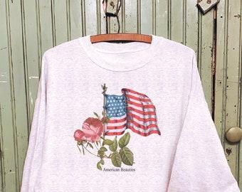 Vintage flag, Vintage flag sweatshirt, Vintage rose sweatshirt, Americana graphic