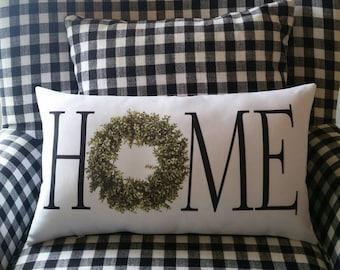 HOME pillow, Boxwood wreath, Farmhouse decor, Farmhouse pillow, Modern country, Urban country