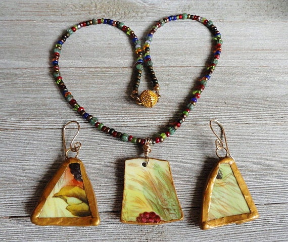 Boho Triangle Pendant Necklace and Earrings Set  Handpainted Necklace with Boho Dangle Earrings  Unique Flower Necklace and Earrings