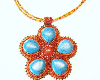 Fun Turquoise Beaded Orange Flower Embroidered Necklace