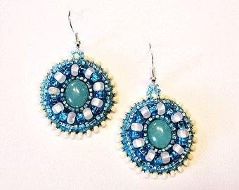 Blue and White Cats Eye Beaded Embroidered Earrings