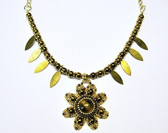 As Seen On The Fosters Catseye Bronze And Gold Flower Bead Embroidered Necklace