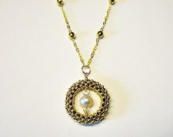Gold Freshwater Pearl Swarovski Crystal Beaded Circle Pendant Necklace