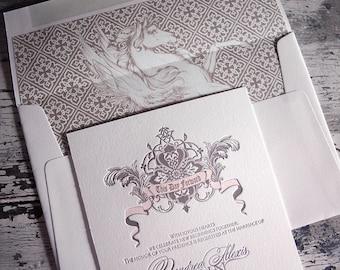 Fairytale Wedding Letterpress Invitation Suite (SAMPLE)