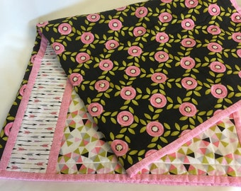 Modern Pink Rose Baby Quilt
