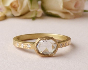 Iris - 18ct Fairtrade Gold Ethical Engagement Ring with Rose Cut Diamond