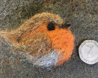 Robin Brooch, needlefelted  (free pp in uk)