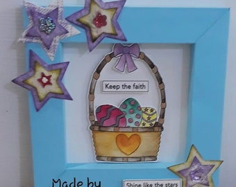 Easter Basket With Eggs Digital Stamp