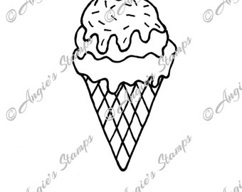 Ice Cream Cone With Sprinkles Digital Stamp