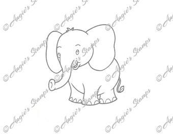 Baby Elephant Digital Stamp
