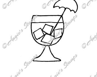 Cocktail Drink With Umbrella Digital Stamp