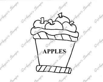 Bucket of Apples Digital Stamp
