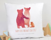 Personalised Cushion First Mother 39 s Day Bear Family Cushion - Family Gift, Gift for Her, Home Gift, Bear Hug