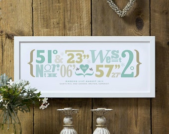 Personalised Wedding Coordinates Print - Anniversary Gift, Wedding Gift, Gift For Her/Him, Couples Gift, Home Decor, Wall Art Print