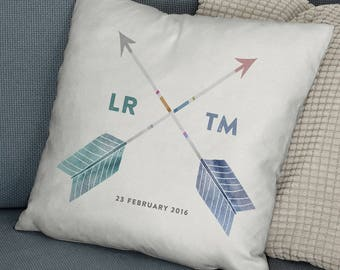 Personalised Cushion Couples Initials Wedding Gift - Anniversary Gift, Gift for Her/Him, Valentines Gift, Custom Cushion, Home Decor