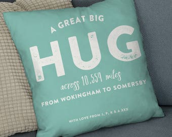 Personalised Cushion 'Hug Across The Miles' - personalised pillow, hug cushion, hug across the miles, great big hug, home decor,gift for her
