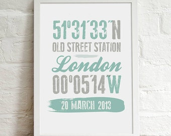 Personalised Print - Coordinate Location Gift, Wall Art Gift For Her/Him, Paper Gift, Anniversary Gift, Wedding Gift, Home Decor