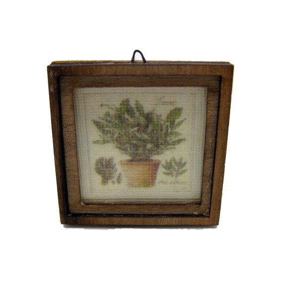 Miniature shabby chic picture herbes de Provence Thym with wooden frame