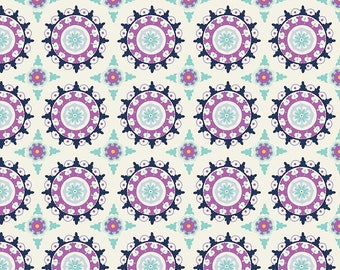Dodi Lee Poulsen for Riley Blake Designs - LULABELLE - Medallion in Cream - Cotton Fabric - 1 yard