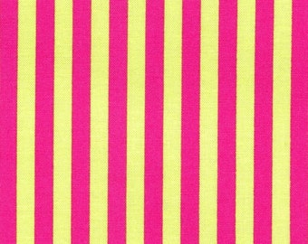 Michael Miller Clown Stripe in Watermelon - CX3584  Hot Pink Lime Green - Cotton Fabric - Very Hard to Find