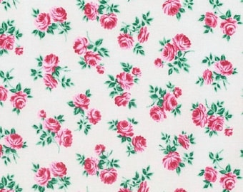 Verna Mosquera for Free Spirit - PEPPERMINT ROSE -  Rosettes in Dove - Green - Cotton Fabric - PWVM182