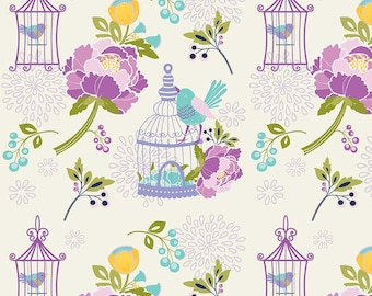 Dodi Lee Poulsen for Riley Blake Designs - LULABELLE - Main in cream - Cotton Fabric - 1 yard