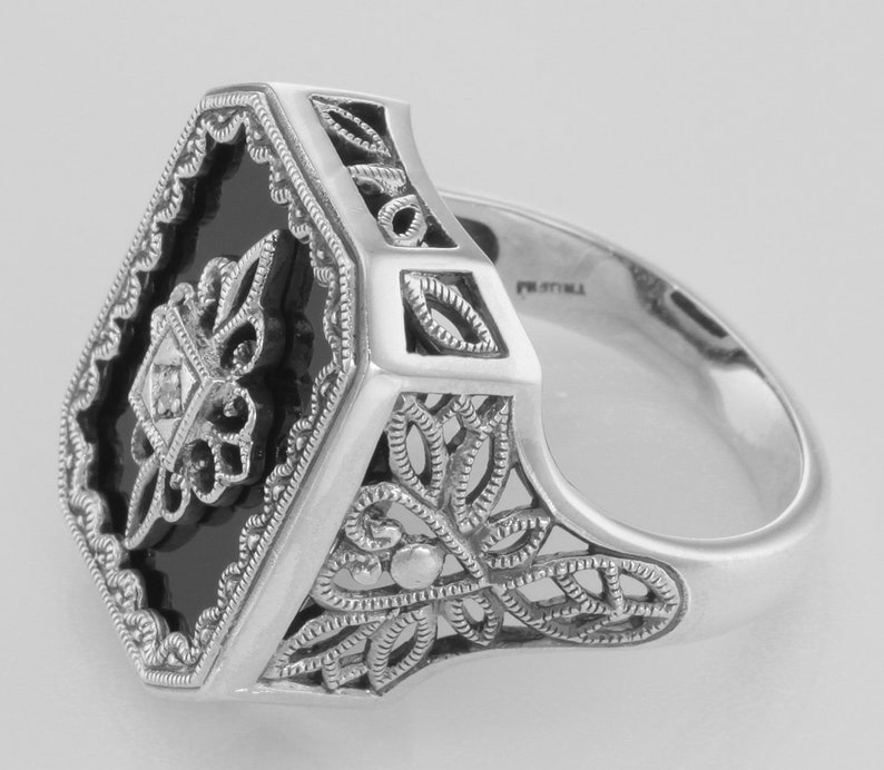 Victorian Style Black Onyx and Diamond Filigree Ring Sterling Silver