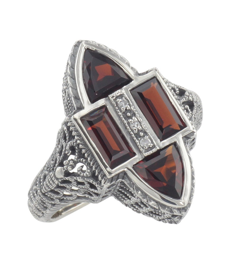Sterling Silver Antique Style Four Stone Red Garnet and Diamond Ring