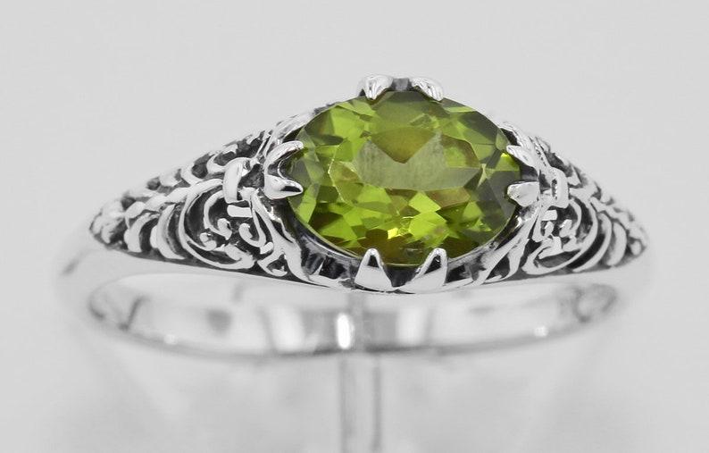 Peridot Filigree Ring Sterling Silver