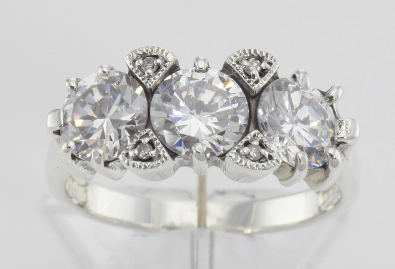 Lovely Art Deco Style 3 Stone White Topaz and Diamond Ring Sterling Silver