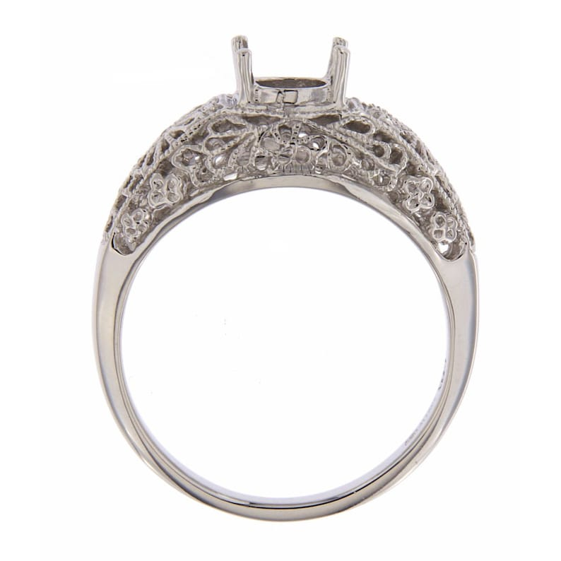 Victorian Style 5mm Semi Mount Filigree Ring 14kt White Gold