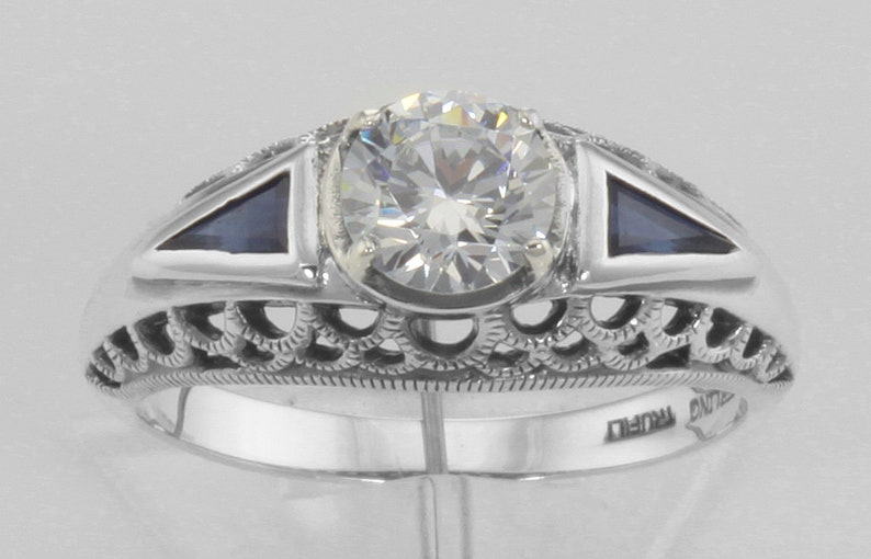 Art Deco Style Cubic Zirconia Filigree Ring w Sapphire Sterling Silver