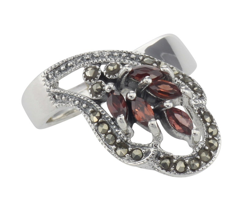 Antique Style Genuine Red Garnet and Marcasite Ring Sterling Silver