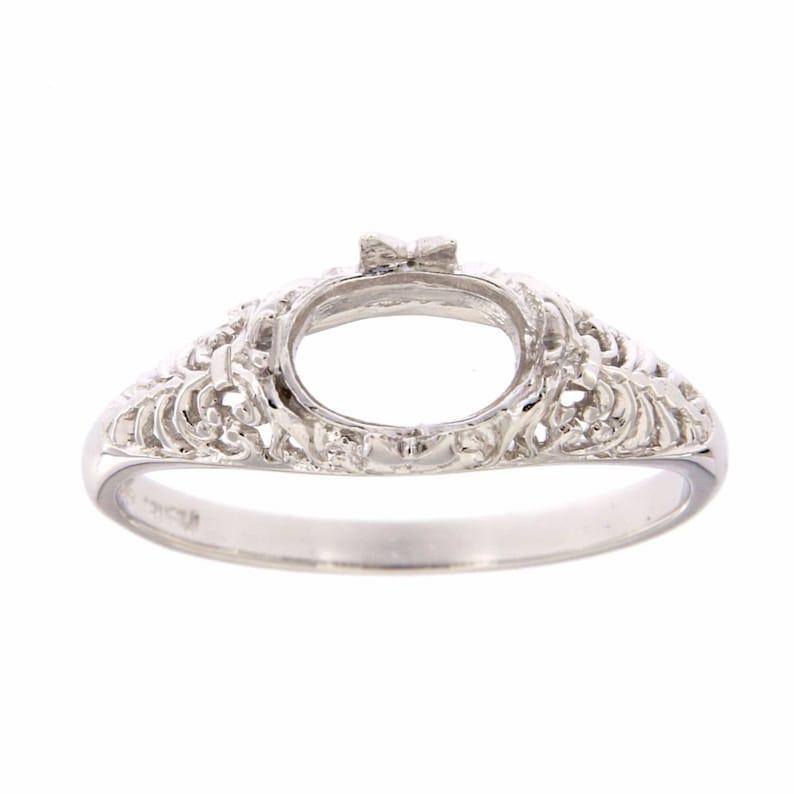 Semi Mount Art Deco Style 14kt White Gold Filigree Ring 6 x 8mm Oval