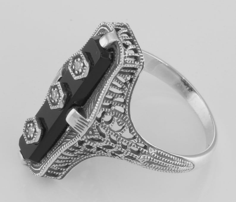 Sterling Silver Art Deco Style Black Onyx Filigree Ring 3 Diamond Accents