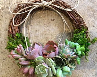 """Small 8"""" colorful Living Succulent Wreath, """"Juliette Wreath"""", Valentine's gift, girlfriend gift, hostess gift, grapevine, Succulent Gift"""