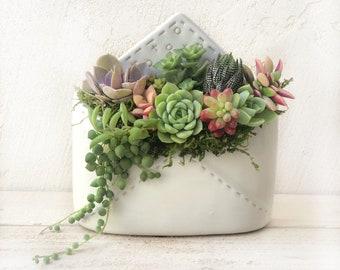 Sending Love Ceramic Envelope Planter Filled with Succulents