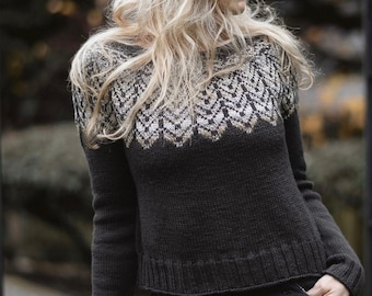 KNITTING PATTERN-The Feather Sweater (1/2, 3/4, 5/6, 7/8, 9/10, 11/13, x-s, s, s/m, m, m/l, l, x-l, xxl, 2xl-3xl)