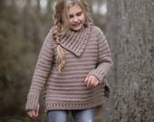 CROCHET PATTERN-The Juniper Sweater (2/3, 4/5, 6/7, 8/9, 10/12, 14/16, small, medium, large, x-large sizes)