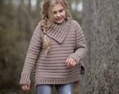 CROCHET PATTERN-The Juniper Sweater (2/3, 4/5, 6/7, 8/9, 10/12, 14/16, small, medium, large, x-large sizes)