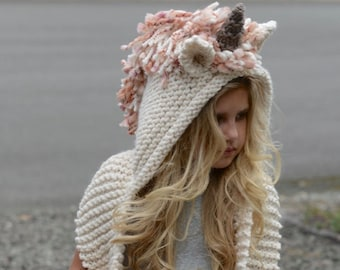 Knitting PATTERN-The Unice Unicorn Hooded Scarf (12/18 months, Toddler, Child, Teen, Adult sizes)