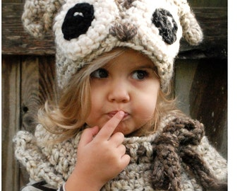 Crochet PATTERN-The Odette Owl Set (Toddler, Child and Adult sizes)