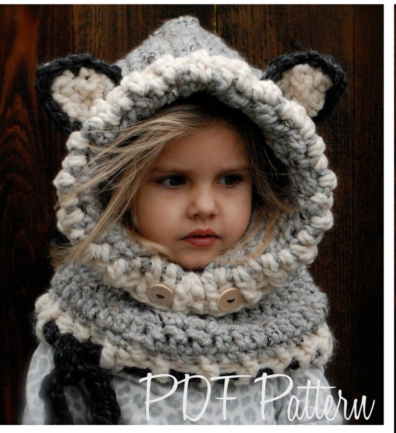 Crochet PATTERN-The Woodlynn Wolf Cowl (12/18 months, Toddler, Child, Adult sizes) photo
