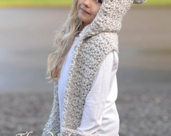 Crochet PATTERN-The Summit Hooded Scarf  (12/18 month,Toddler, Child, Teen, Adult sizes)
