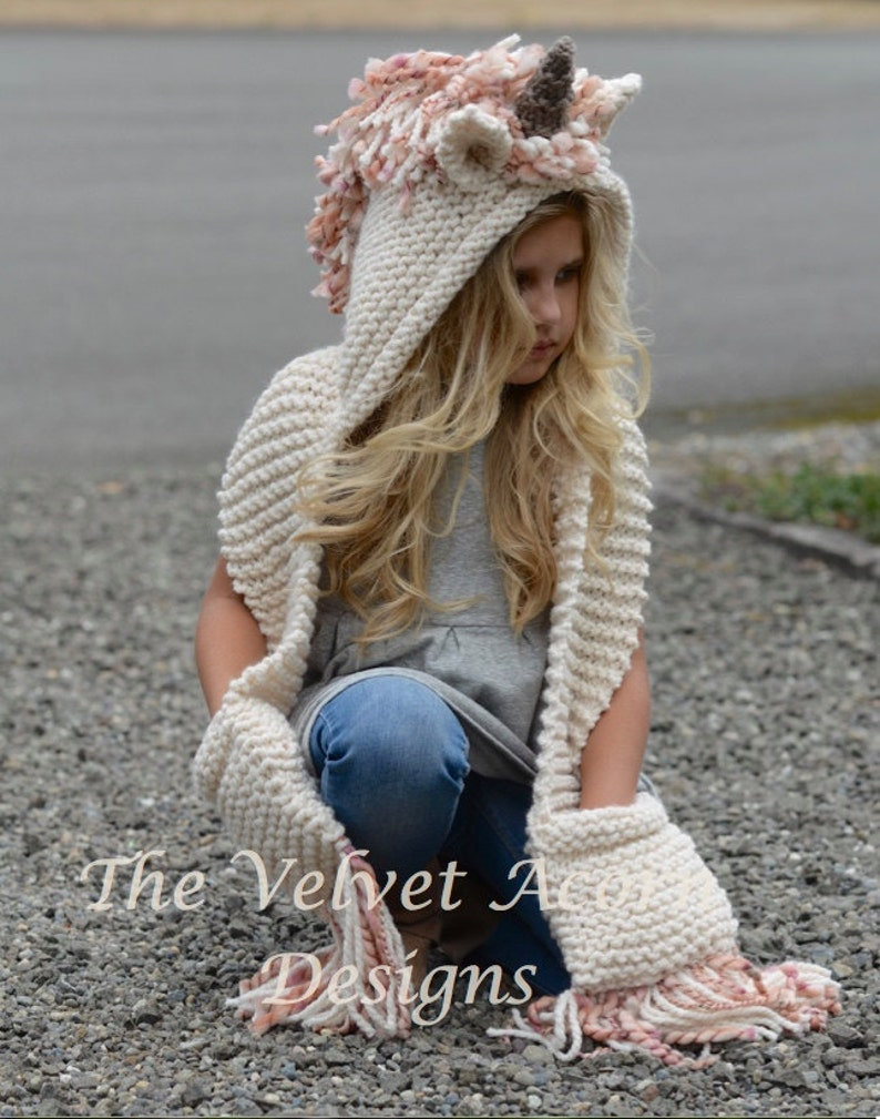 Knitting PATTERN-The Unice Unicorn Hooded Scarf (12/18 months, Toddler, Child, Teen, Adult sizes) photo