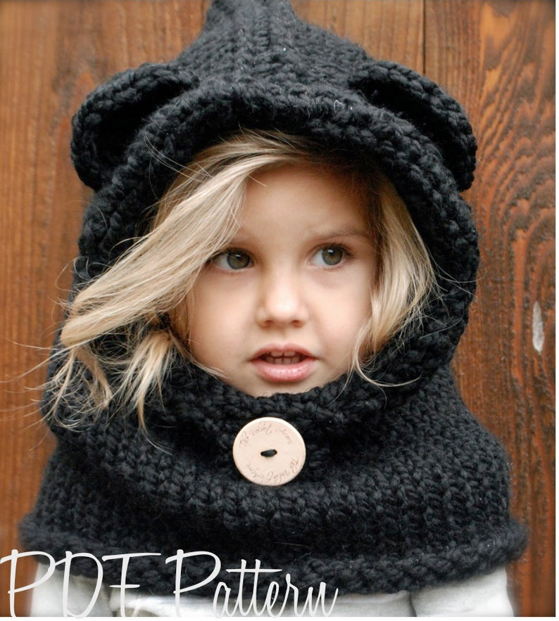 KNITTING PATTERN - Burton Bear Cowl (6/9 month - 12/18 month - Toddler - Child - Adult sizes) photo